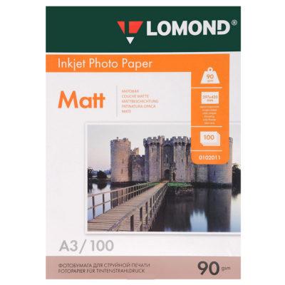 Фотобумага Lomond матовая A3, 90г/м2, 100л (0102011)
