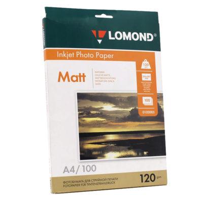 Фотобумага Lomond матовая A4, 120г/м2, 100л (0102003)