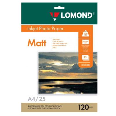 Фотобумага Lomond матовая A4, 120г/м2, 25л (0102030)
