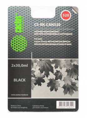 Заправочный комплект для ПЗК Cactus CS-RK-CAN520 черный 4x30мл для Canon Pixma MP540/MP550/MP620/MP630/MP640