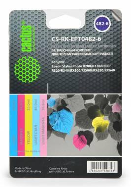 Заправочный комплект для ПЗК Cactus CS-RK-EPT0482-6 многоцветный 20мл для Epson St R200