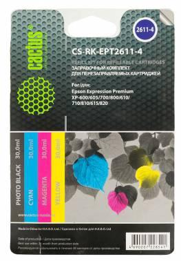 Заправочный комплект для ПЗК Cactus CS-RK-EPT2611-4 многоцветный 120мл для Epson Ho XP600