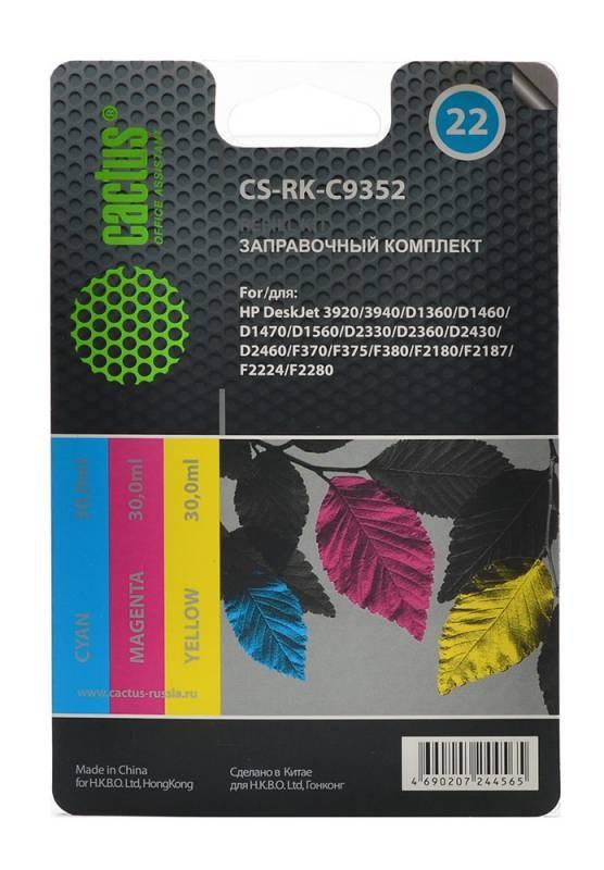 Заправочный комплект Cactus CS-RK-C9352 многоцветный 90мл для HP DJ 3920/3940/D1360/D1460/D1470/D1560/D2, артикул 845661