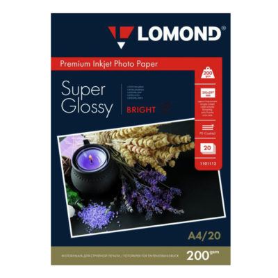 Фотобумага Lomond суперглянцевая А4, 200г/м2, 20л (1101112)