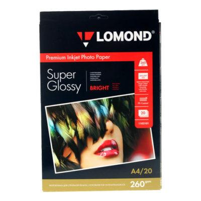 Фотобумага Lomond суперглянцевая А4, 260г/м2, 20л (1103101)