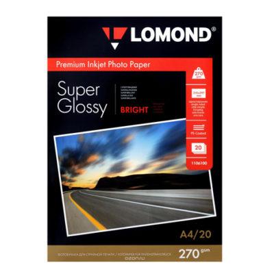 Фотобумага Lomond суперглянцевая А4, 270г/м2, 20л (1106100)