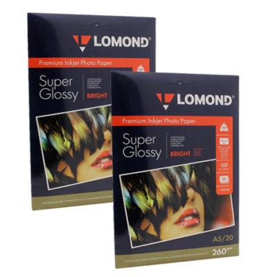 Фотобумага Lomond суперглянцевая А5, 260г/м2, 20л (1103104)