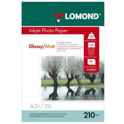 Фотобумага Lomond A3+ двухсторонняя глянцевая+матовая, 210г/м2, 20л., артикул 0102027