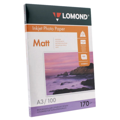 Фотобумага Lomond двусторонняя матовая A3, 170г/м2, 100л., артикул 0102012