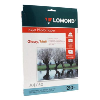 Фотобумага Lomond двусторонняя глянцевая+матовая A4, 210г/м2, 50л., артикул 0102021