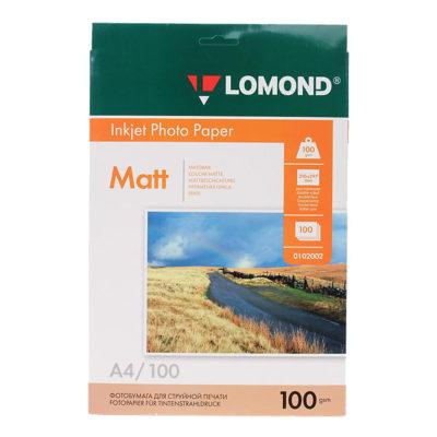 Фотобумага Lomond двусторон. матовая A4, 100г/м2, 100л (0102002)