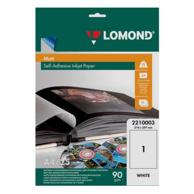 Самоклеящаяся бумага Lomond матовая A4, 90г/м2, 25л (2210003)