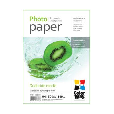 Фотобумага ColorWay матовая двухсторонняя 140 г/м², A4, 50 л