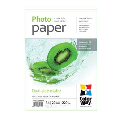 Фотобумага ColorWay матовая двухсторонняя 220 г/м², A4, 20 л