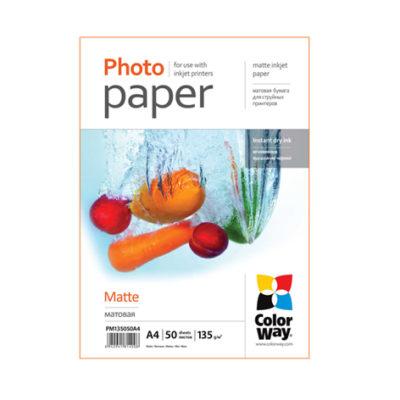 Фотобумага ColorWay матовая 135 г/м², A4, 50 л