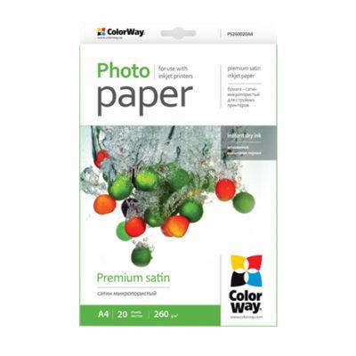 Фотобумага ColorWay сатин микропористый 260 г/м², А4, 20 л