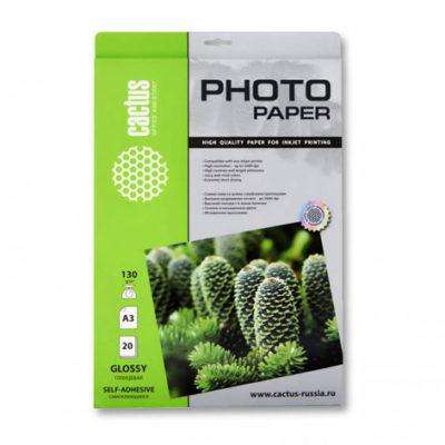 Фотобумага Cactus глянцевая самоклеящаяся 130 г/м², A3, 20 л