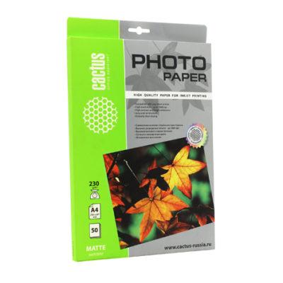 Фотобумага Cactus А4 230 г/м2 матовая, 50 л (805855)