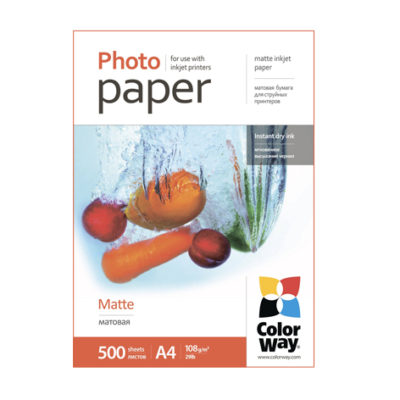 Фотобумага ColorWay матовая 108 г/м², A4, 500 л