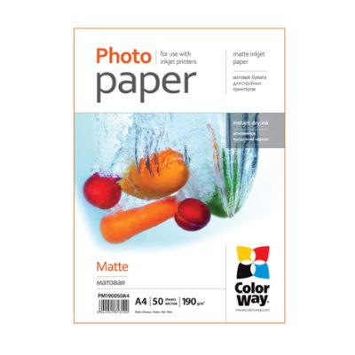 Фотобумага ColorWay матовая 190 г/м², A4, 50 л