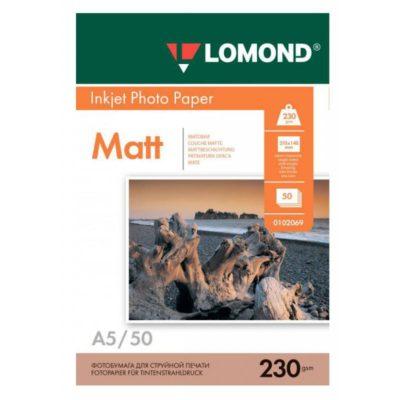 Фотобумага Lomond односторонняя матовая А5, 230г/м2, 50л (0102069)