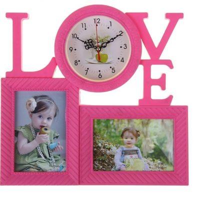 Часы настенные «Love»+2 фотографии, розовые (1296069)
