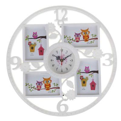 Часы настенные с фоторамками «Цветочки», цвет белый (1296072)