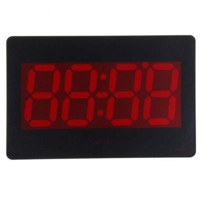 Часы настенные электронные с термометром и будильником, цифры красные 15.5х23.5 см (1302103)