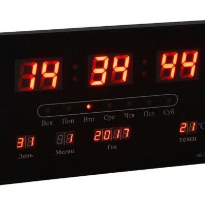 Часы настенные электронные с календарём и термометром, красные цифры 33х20х3 см (1418798)