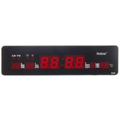 Часы настенные электронные «Классика», длинные, цифры красные, от сети, 33,5 х 3 х 9 см (2316589)