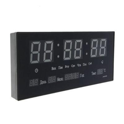 Часы настенные электронные с термометром, будильником и календарём, цифры зеленые, 15х36 см (474807)