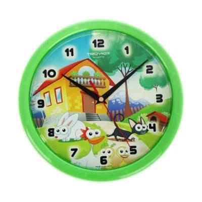 """Часы настенные круглые детские """"Домик для зверей"""", зеленое кольцо (1256214)"""