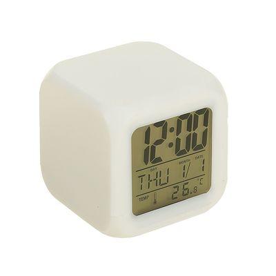 Часы-будильник LuazON LB-03, дата, температура, пластиковый корпус, белые (137977)