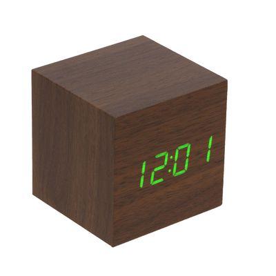 Часы-будильник настольные электронные, куб, цвет венге, цифры зелёные, от USB, 6,5 х 6,5 х 6,5 см (2307076)