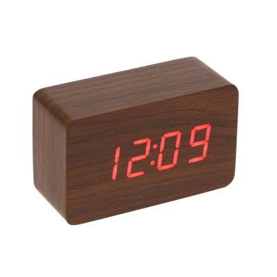 Часы-будильник настольный электронный прямоугольный, цвет орех, цифры красные, от USB (2307077)