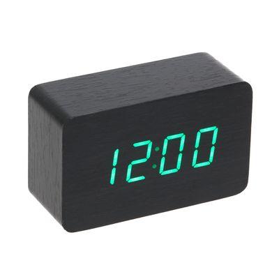 Часы-будильник настольный электронный прямоугольный, тёмное дерево, цифры зелёные, от USB, 10 х 4,5 х 6 см (2307078)