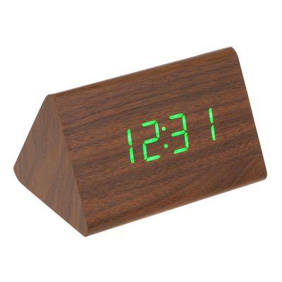 Часы-будильник настольный электронный, конус, цвет венге, цифры красные, от USB, 12 х 8 х 8 см (2307079)