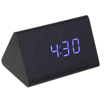 Часы-будильник настольный электронный, конус, тёмное дерево, цифры синие, от USB, 12 х 8 х 8 см (2307080)