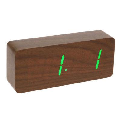 Часы-будильник настольный электронный прямоугольный, цвет венге, цифры зелёные, от сети, 21 х 5 х 9 см (2307081)