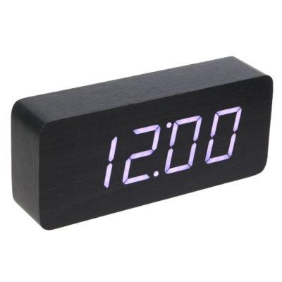 Часы-будильник настольный электронный прямоугольный, тёмное дерево, цифры белые, от сети, 21 х 5 х 9 см (2307082)