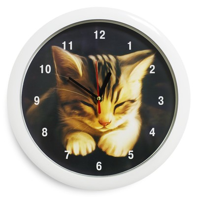 "Настенные часы ""Котёнок"", белый обод (2436381)"
