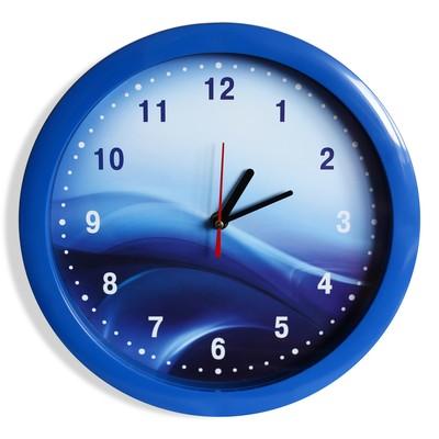 """Настенные часы пластик """"Волны"""", синий обод (2436384)"""