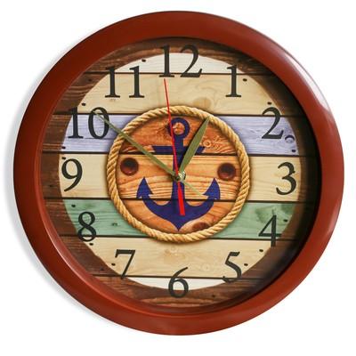 """Настенные часы пластик """"Якорь"""", коричневый обод (2436391)"""