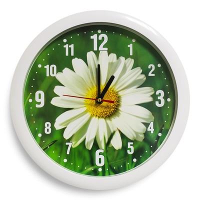 """Настенные часы пластик """"Ромашка"""", белый обод (2436395)"""