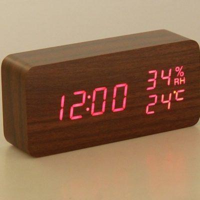 Часы настольные электронные, время, дата, температура, влажность, красные цифры, 15*7 см (2996890)