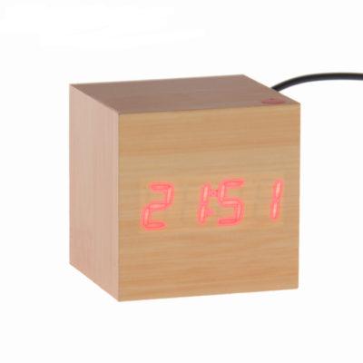 """Часы-будильник """"Деревянный кубик"""" с термометром, 4*ААА или USB (749637)"""