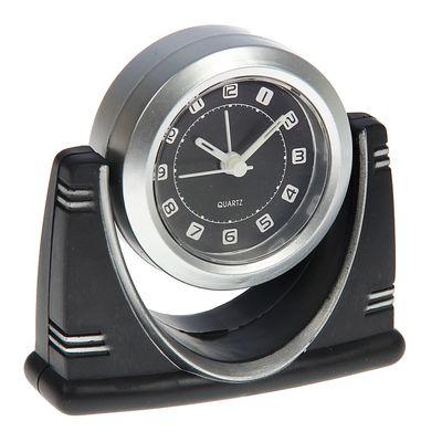 Часы настольные на прямоугольной подставке, цвет черно-серый (834789)