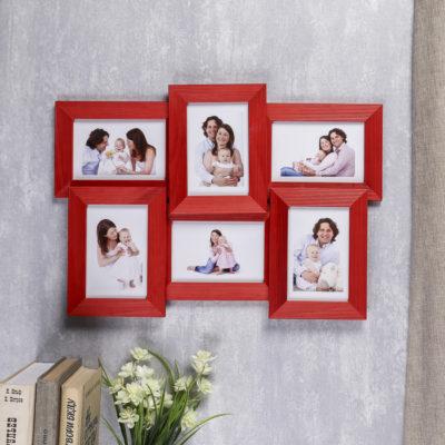 Фотоколлаж на 6 фото 10х15 см, 5N, красный