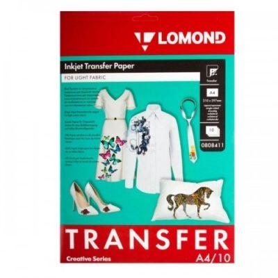 Термотрансфер Lomond A4, 140г/м2/10л. белый для струйной печати.(0808411)