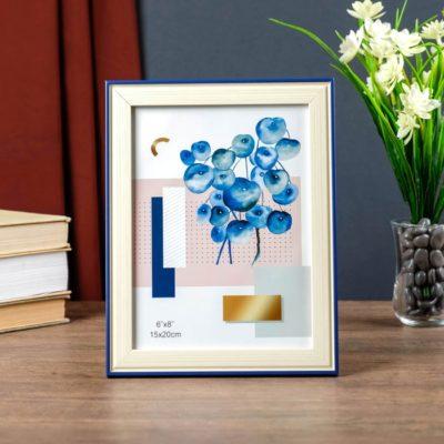 Фоторамка «Беж с синей полосой» пластик 15х20 см, 4441954